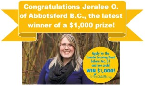 Jeralee won $1,000 from SmartSAVER's WINWIN contest 2015!